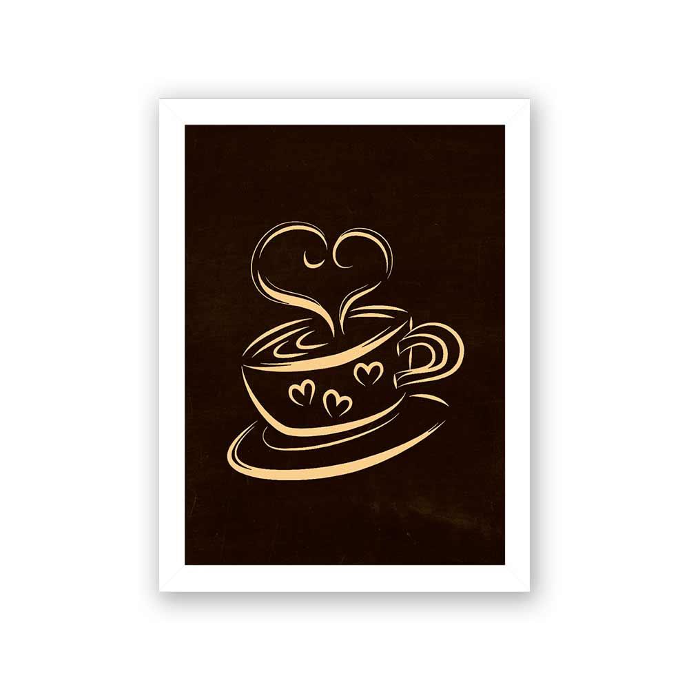 Quadro Decorativo 27x36 Xícara de Café com Fumaça de Coração