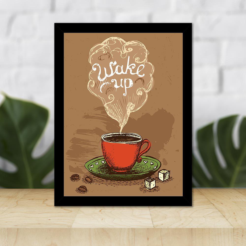 Quadro Decorativo 27x36 Xícara de Café Wake Up