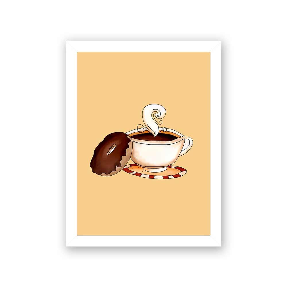 Quadro Decorativo 27x36 Xícaras de Café com Donuts