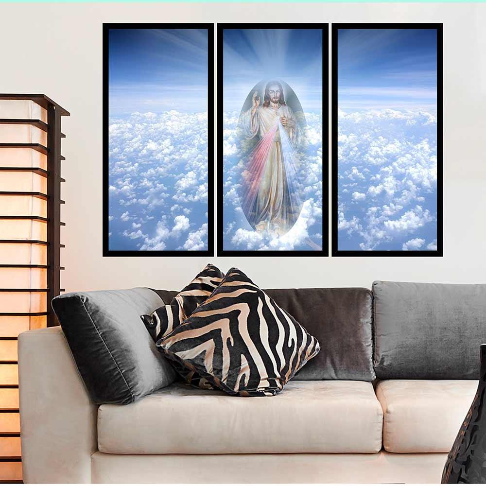 QUADRO MOSAICO 3 PARTES RETO JESUS CRISTO