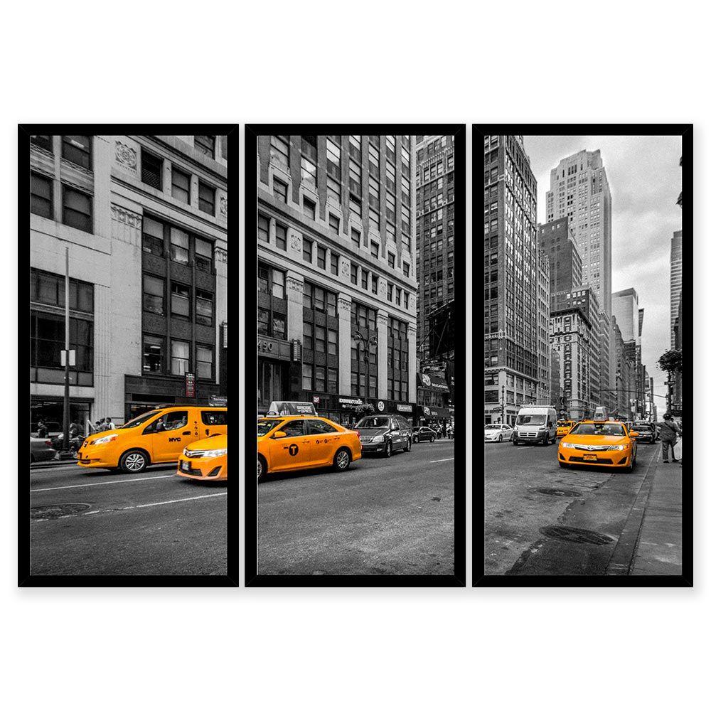 QUADRO MOSAICO 3 PARTES RETO TÁXI DE NEW YORK