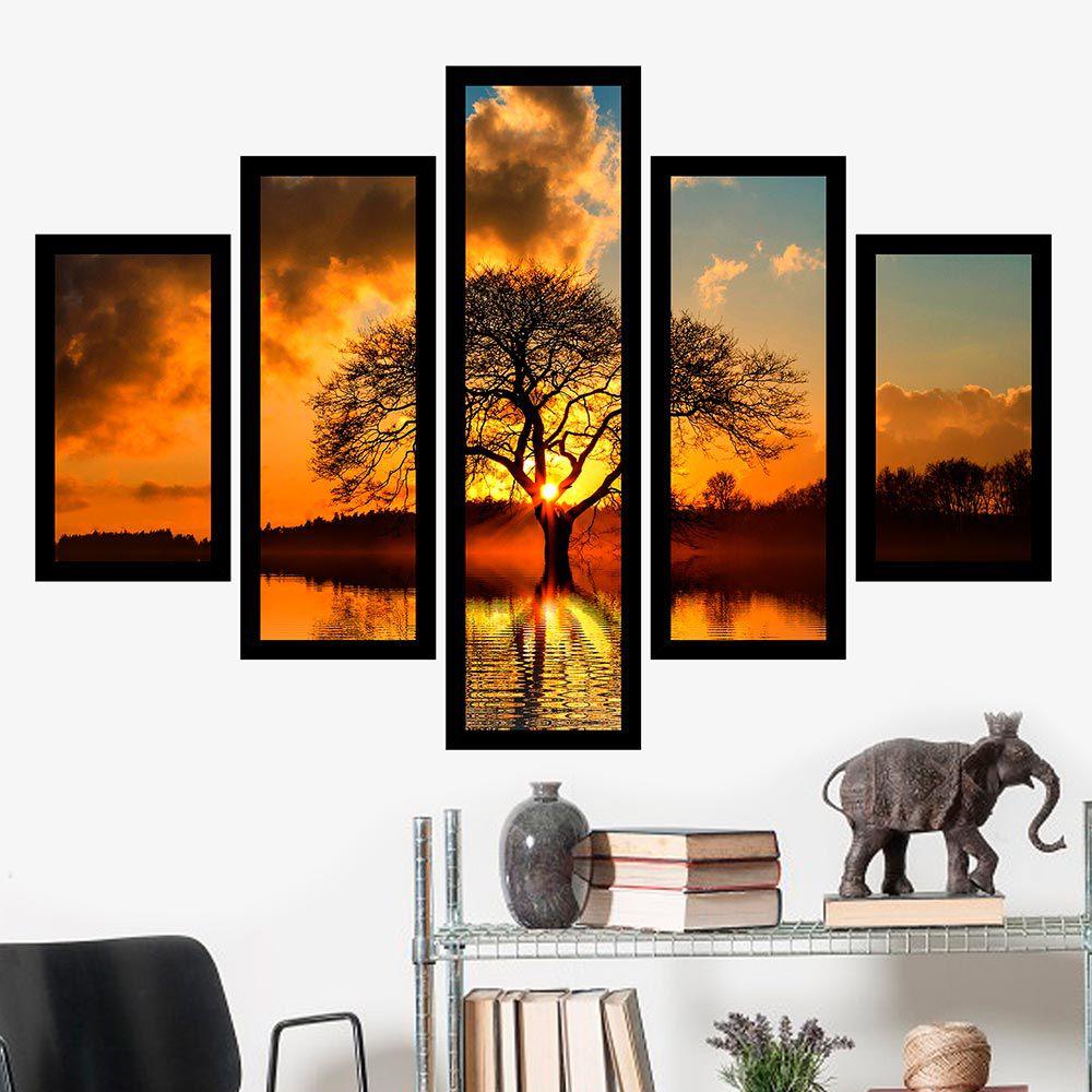 Quadro Mosaico 5 Partes A Árvore da Vida