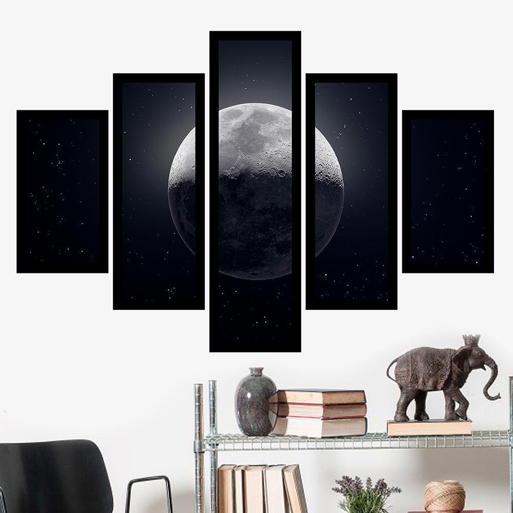 Quadro Mosaico 5 Partes A Lua Com Moldura