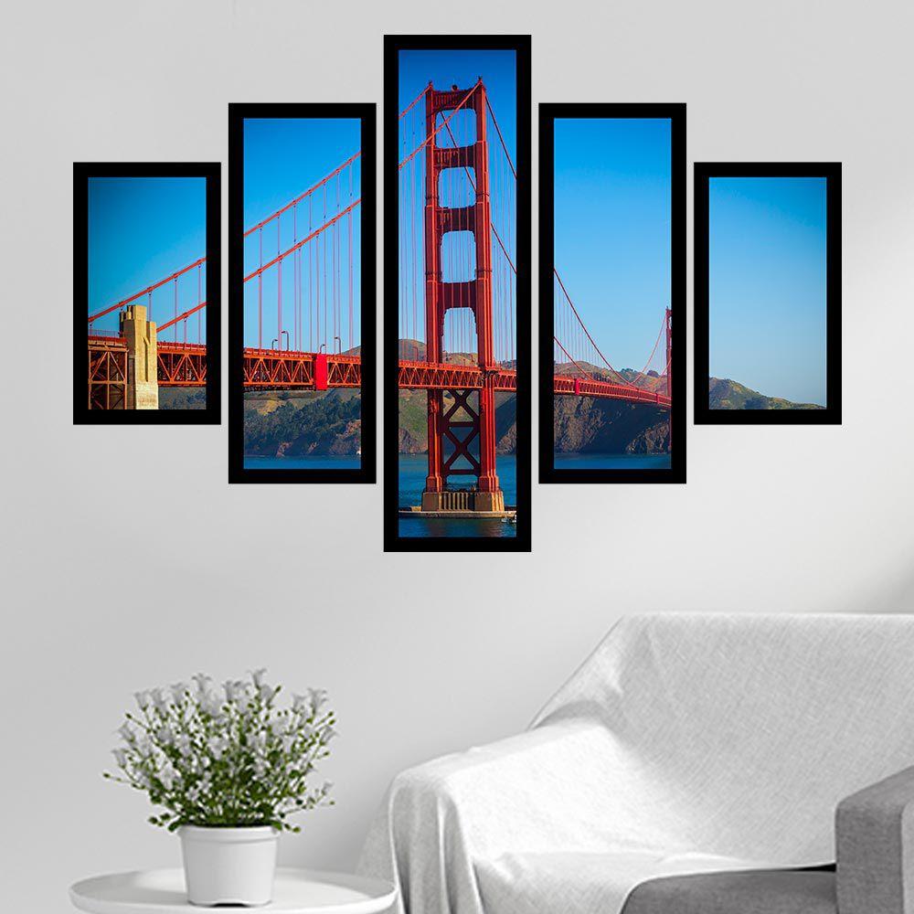 Quadro Mosaico 5 Partes A Ponte Golden Gate Com Moldura
