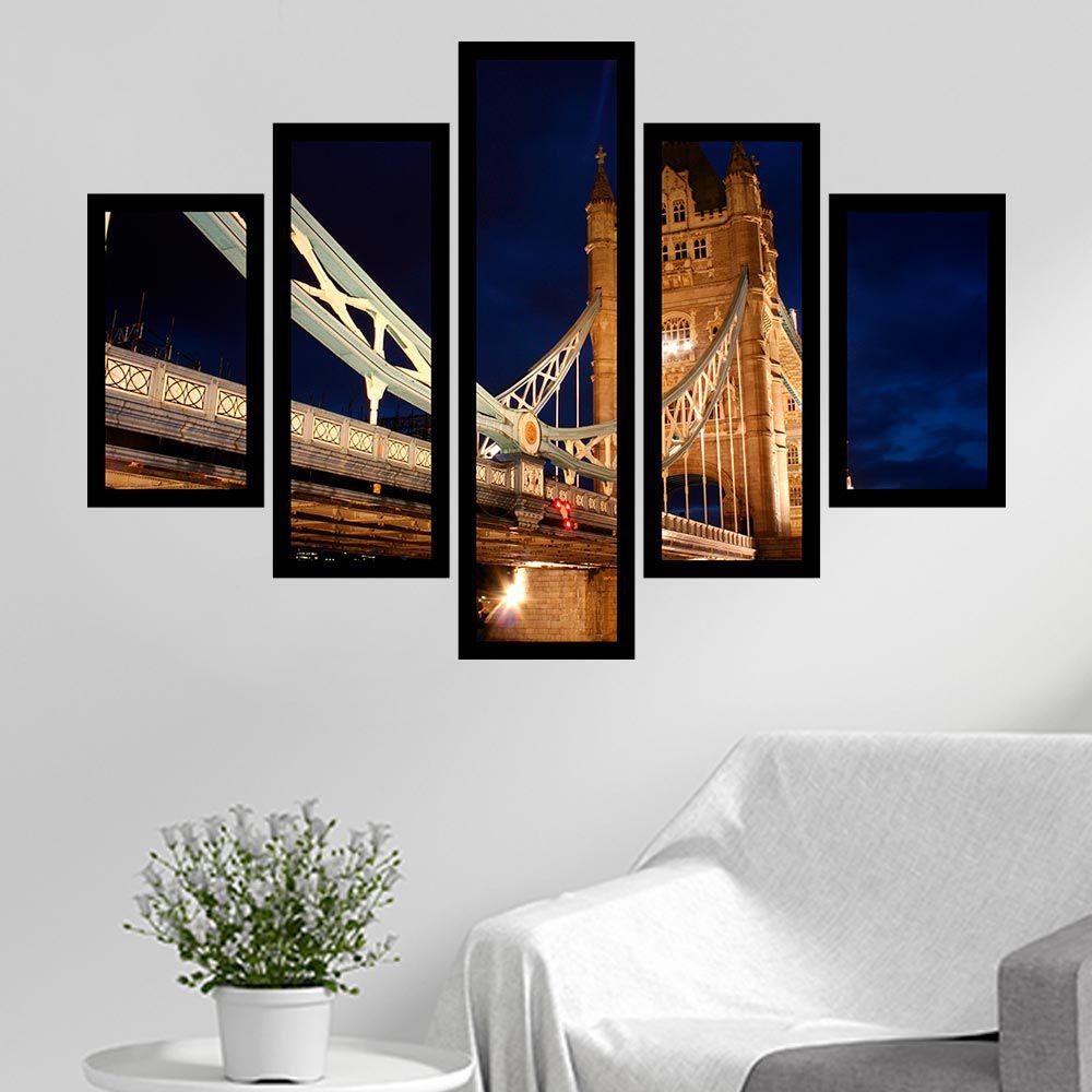 Quadro Mosaico 5 Partes A Ponte Tower Bridge Com Moldura