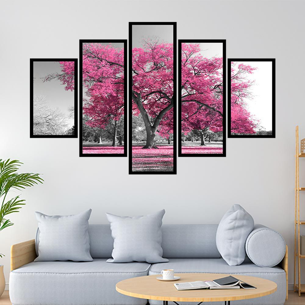 Quadro Mosaico 5 partes Árvore Colorida Rosa Claro
