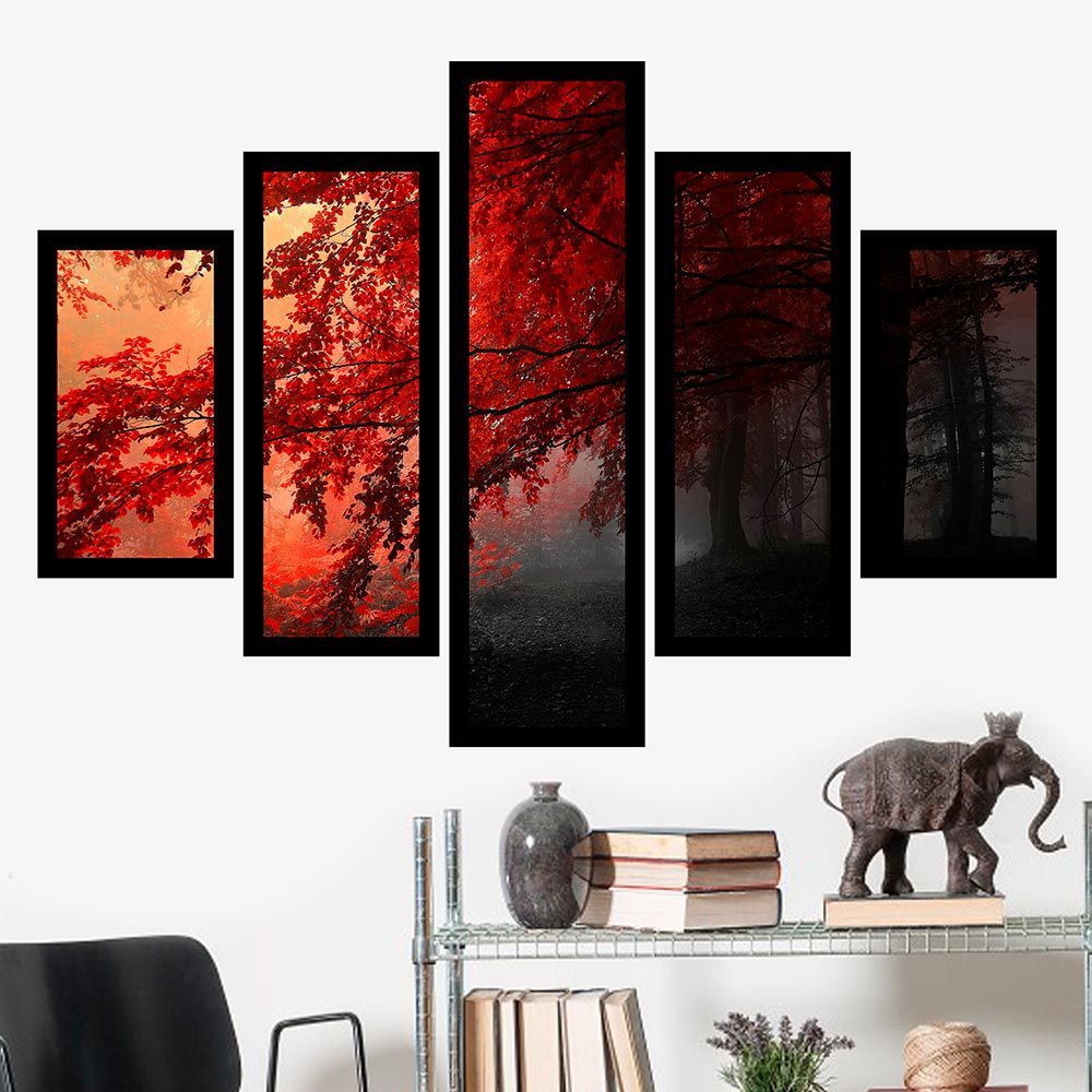 Quadro Mosaico 5 Partes Árvore com Folhas Vermelhas