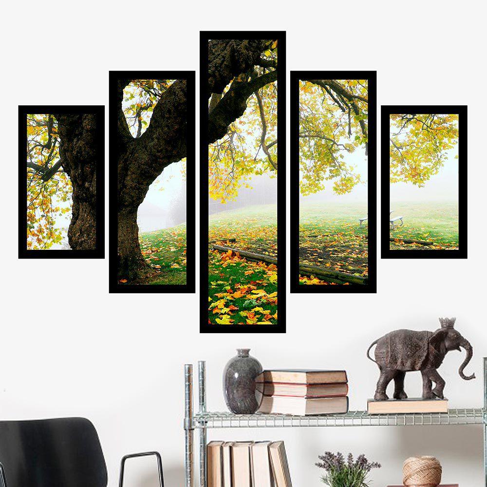 Quadro Mosaico 5 Partes Árvore No Outono Com Moldura