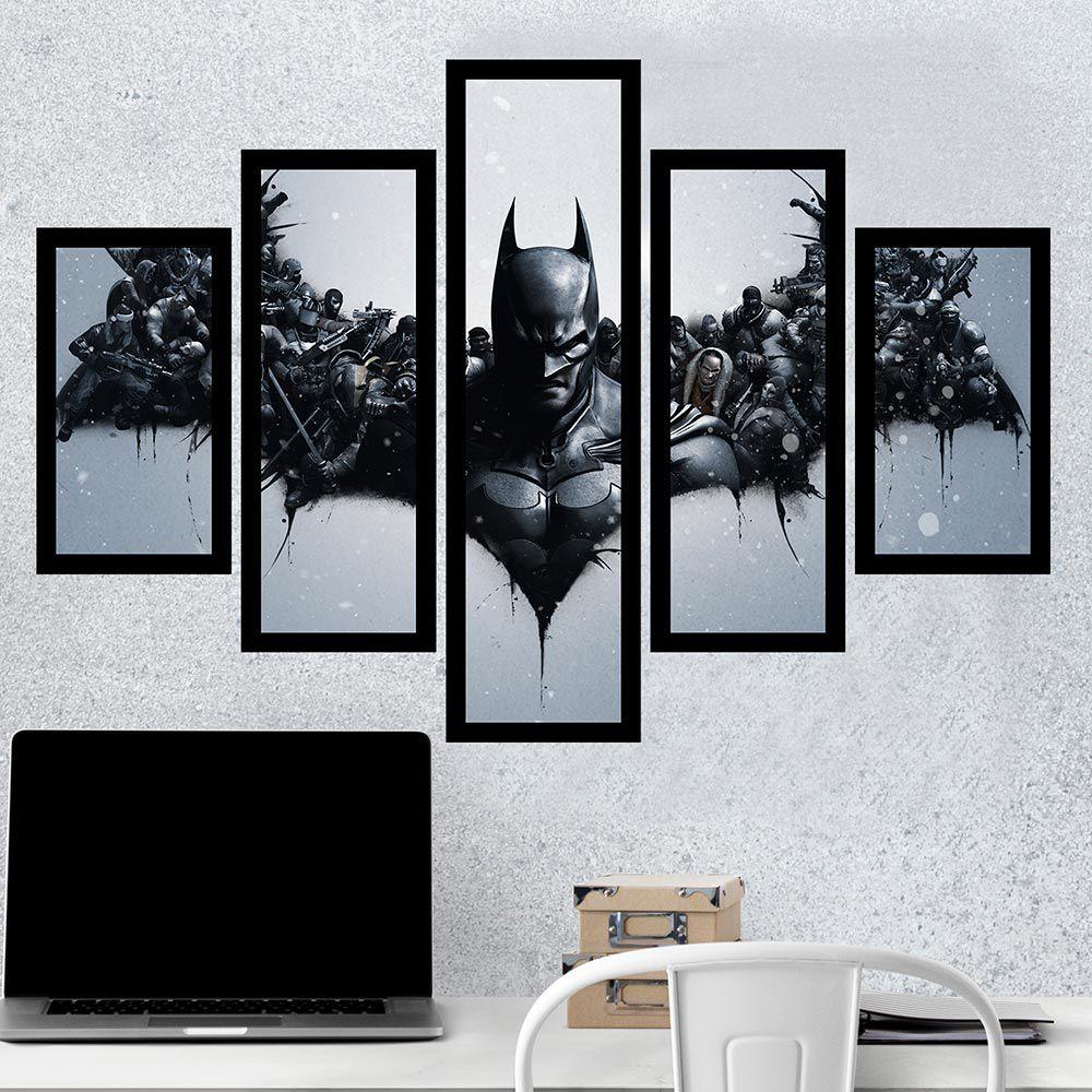 Quadro Mosaico 5 Partes Batman Com Moldura
