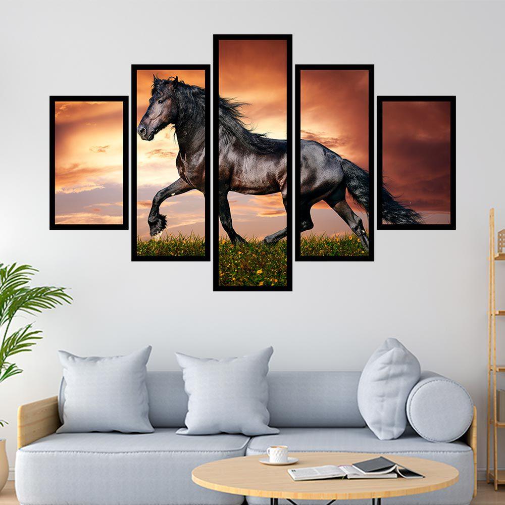 QUADRO MOSAICO 5 PARTES BEAUTIFUL HORSE