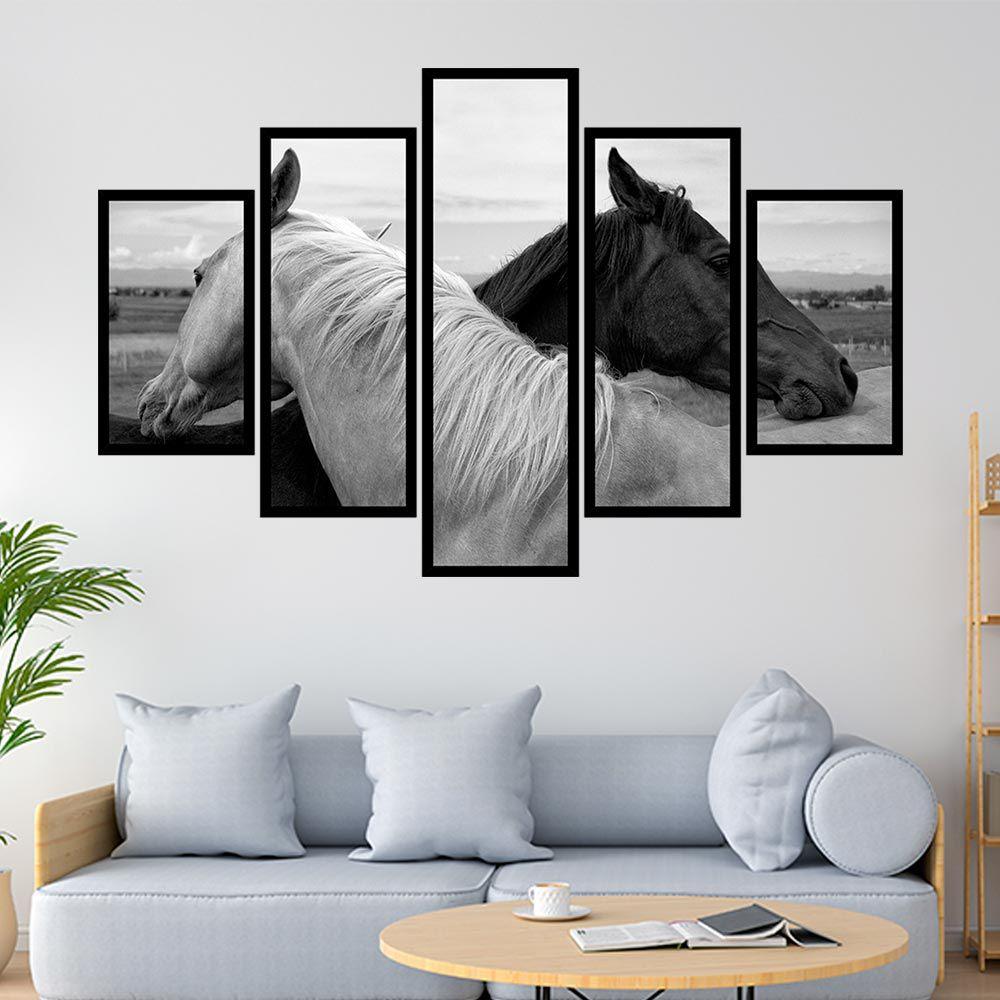QUADRO MOSAICO 5 PARTES BLACK AND WHITE HORSE