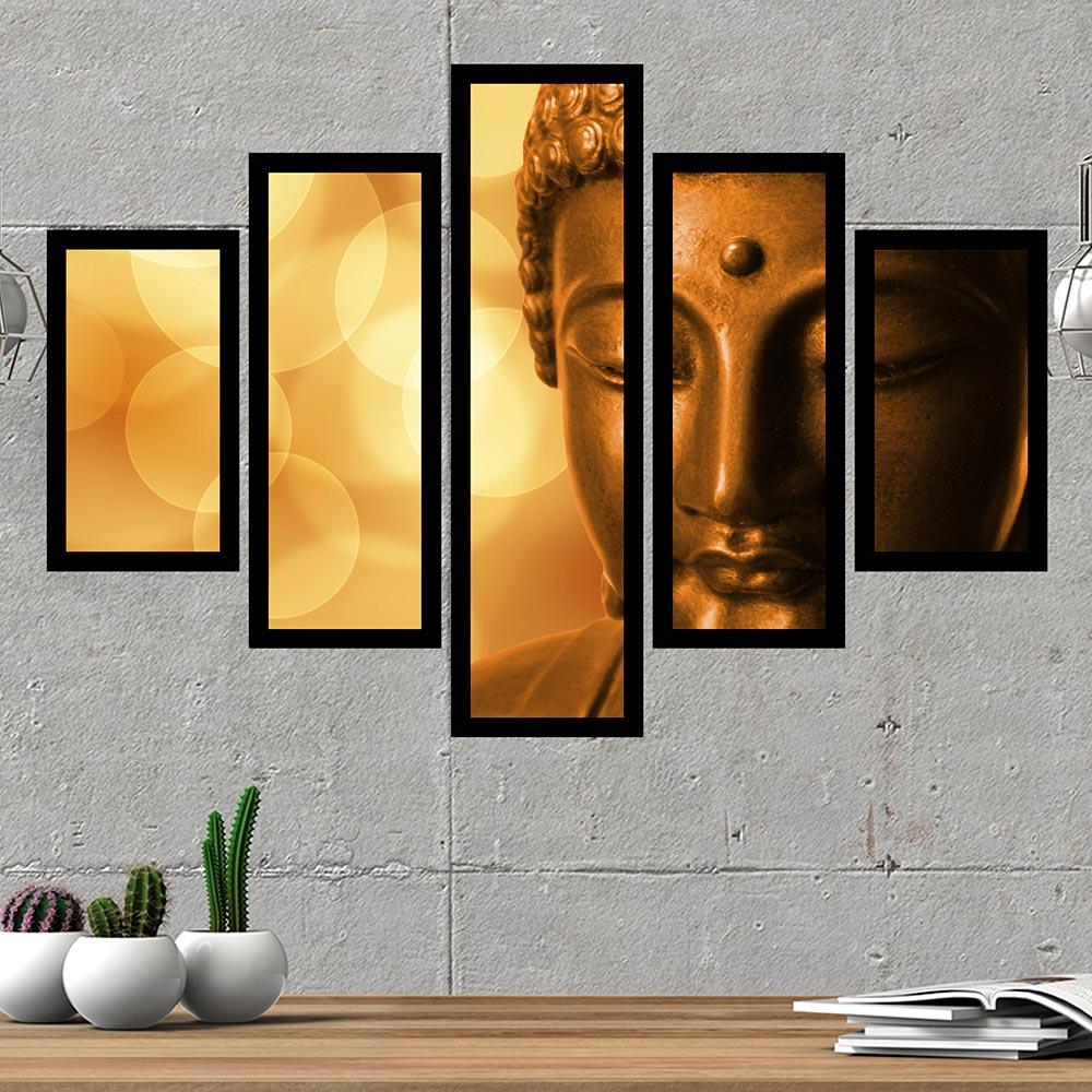 Quadro Mosaico 5 Partes Buda Com Moldura