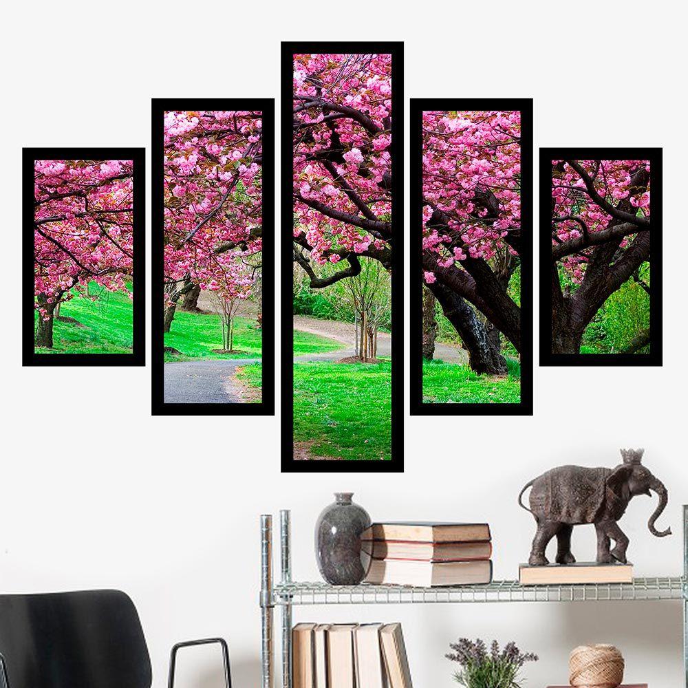 Quadro Mosaico 5 Partes Caminho Com Árvore Rosa Com Moldura