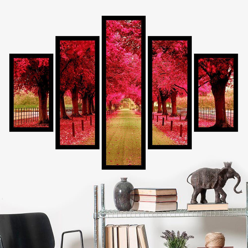 Quadro Mosaico 5 Partes Caminho De Árvores Rosas Com Moldura