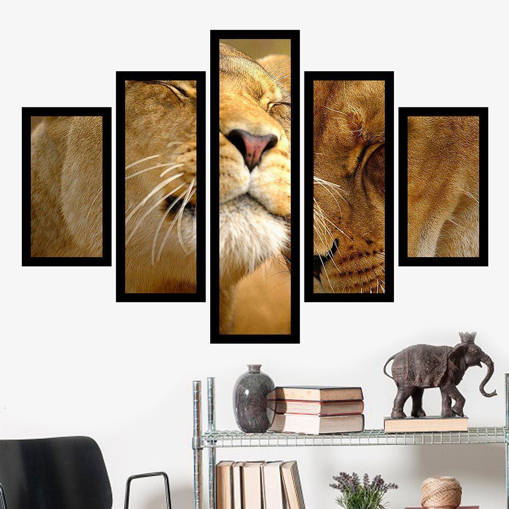 Quadro Mosaico 5 Partes Casal de Leões