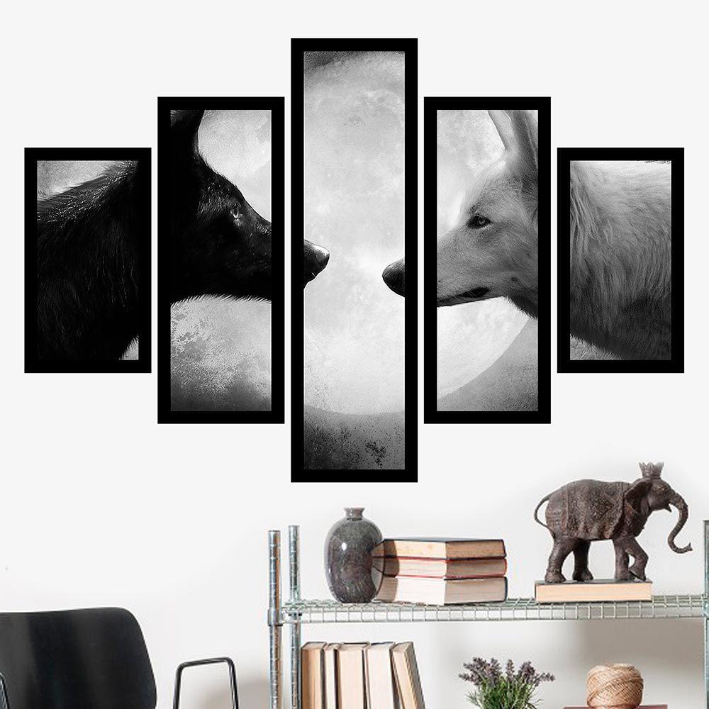 Quadro Mosaico 5 Partes Casal de Lobos Preto e Branco