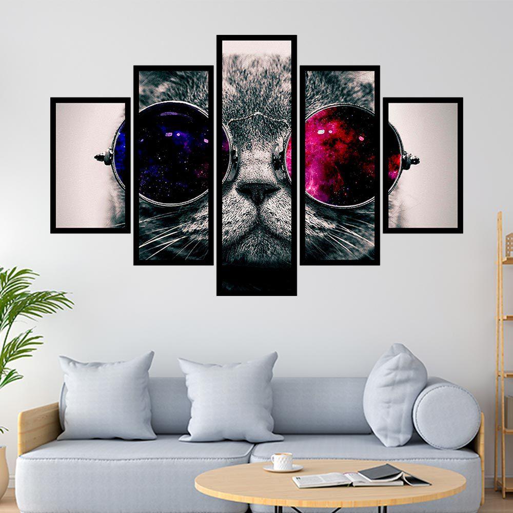 QUADRO MOSAICO 5 PARTES CAT WITH GLASSES