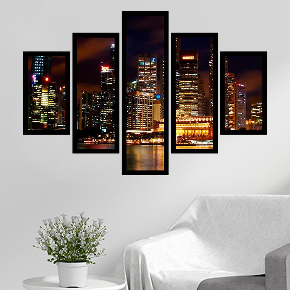 Quadro Mosaico 5 Partes Cidade De Singapura Com Moldura