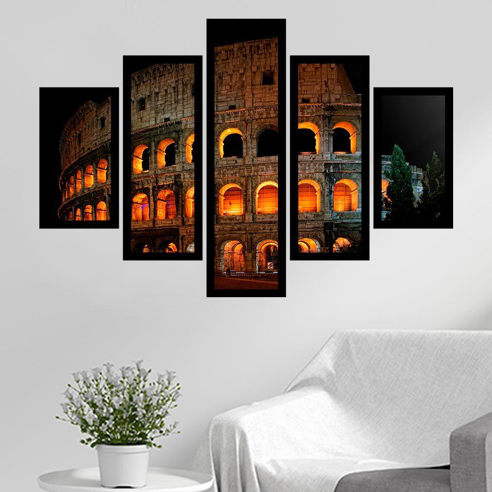 Quadro Mosaico 5 Partes Coliseu Noturno Com Moldura