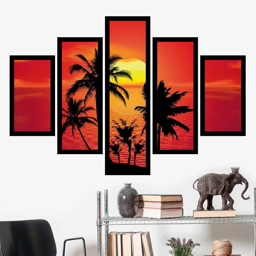 Quadro Mosaico 5 Partes Coqueiros No Pôr Do Sol Com Moldura