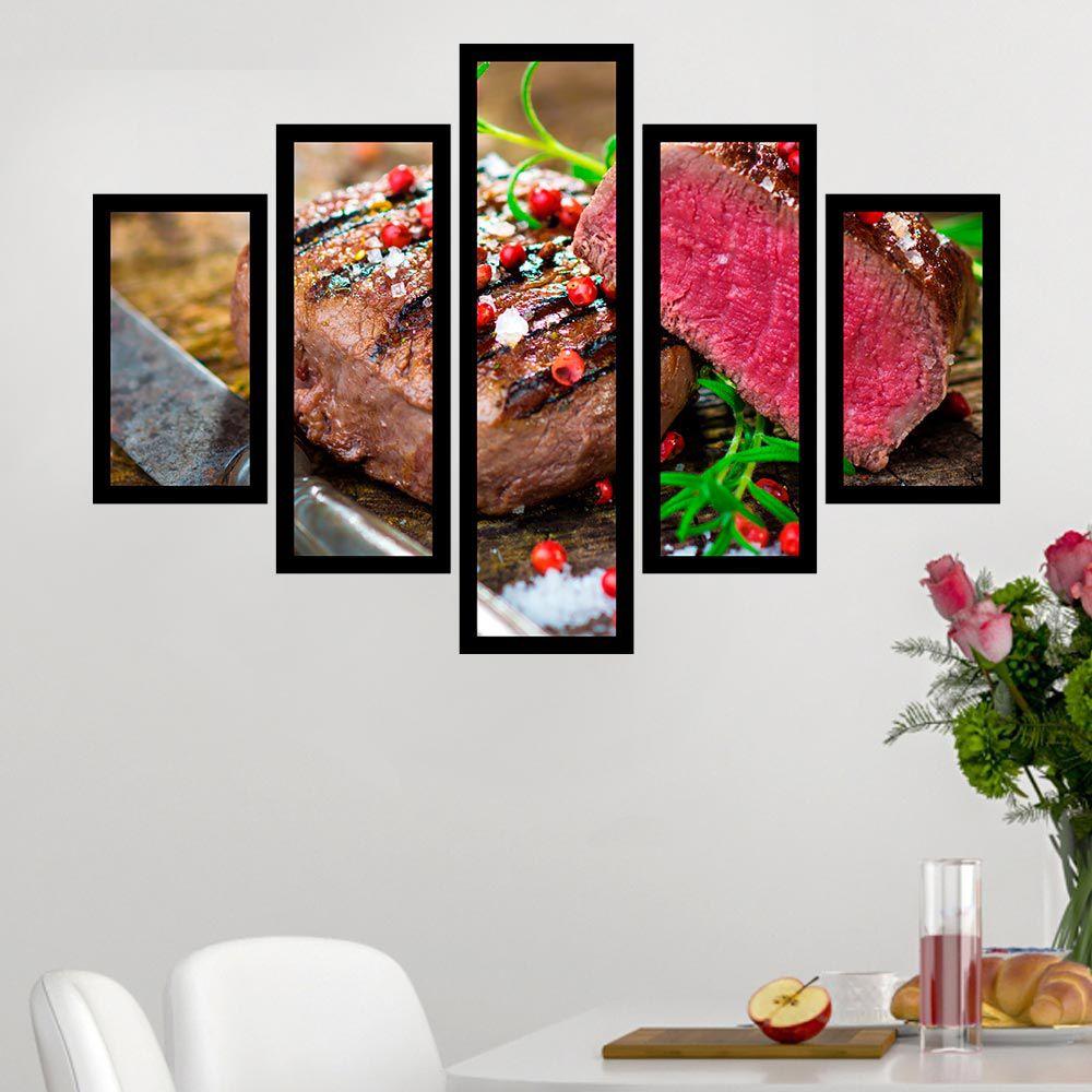 Quadro Mosaico 5 Partes Corte de Carne