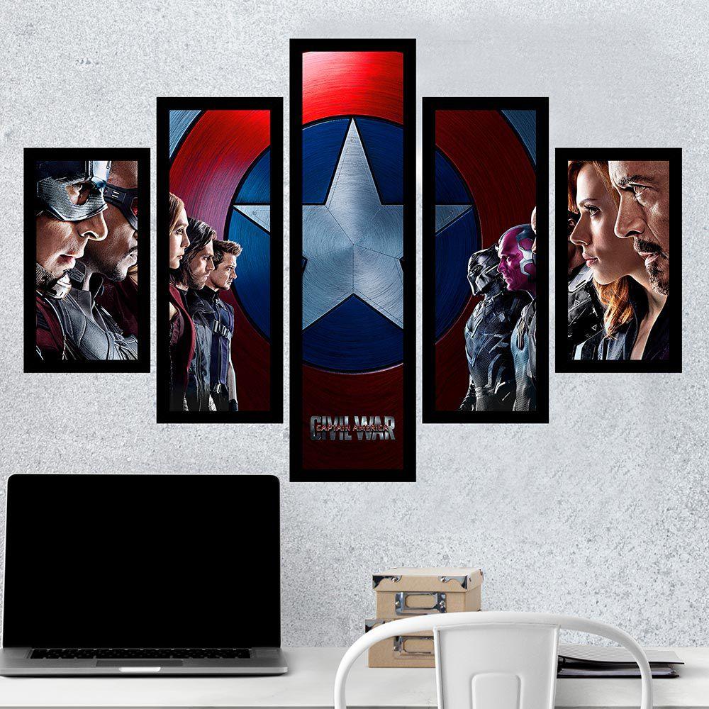 Quadro Mosaico 5 Partes Cp. América Civil War Com Moldura