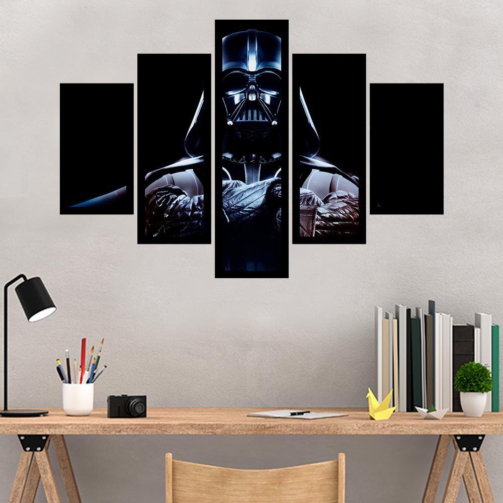 Quadro Mosaico 5 Partes Darth Vader Com Moldura