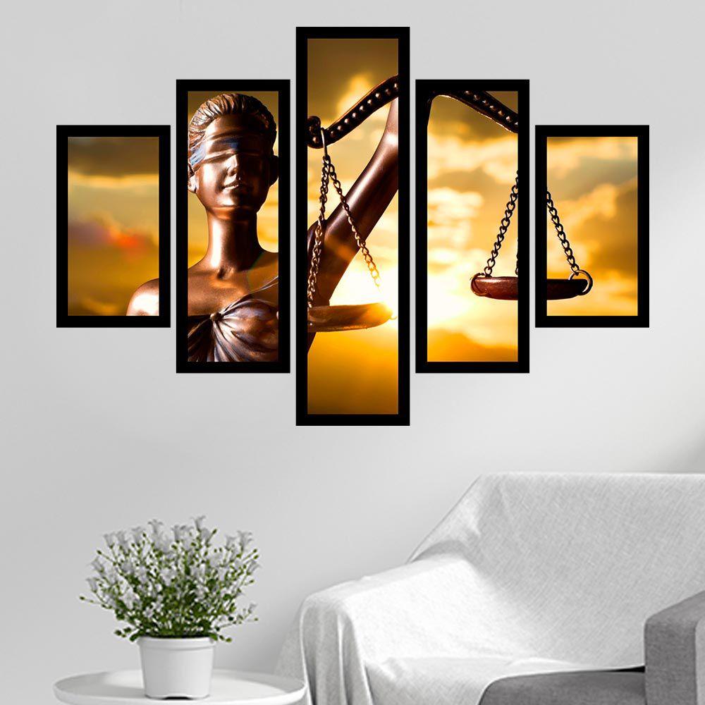 Quadro Mosaico 5 Partes Deusa Da Justiça Com Moldura
