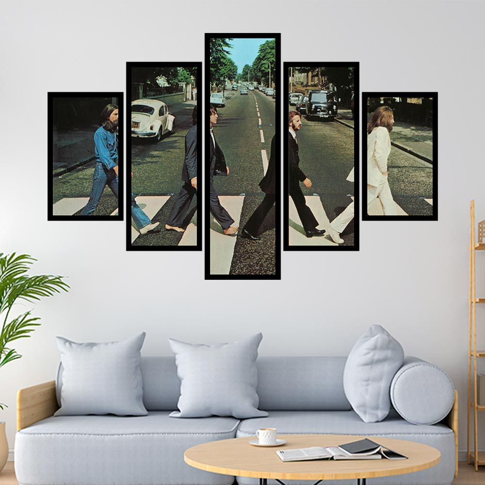 QUADRO MOSAICO 5 PARTES DISCO ABBEY THE BEATLES