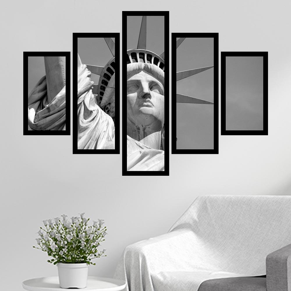 Quadro Mosaico 5 Partes Estátua Da Liberdade P&b Com Moldura