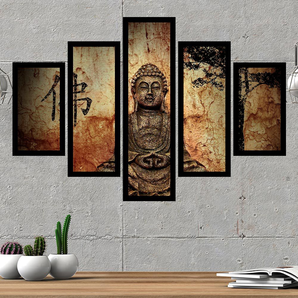Quadro Mosaico 5 Partes Estátua De Buda Com Moldura