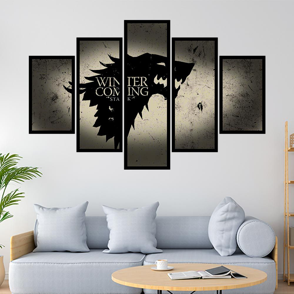 QUADRO MOSAICO 5 PARTES GAME OF THRONES HOUSE STARK