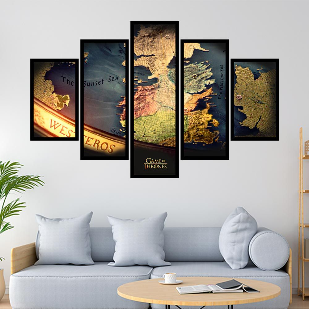 QUADRO MOSAICO 5 PARTES GAME OF THRONES MAPA WESTEROS