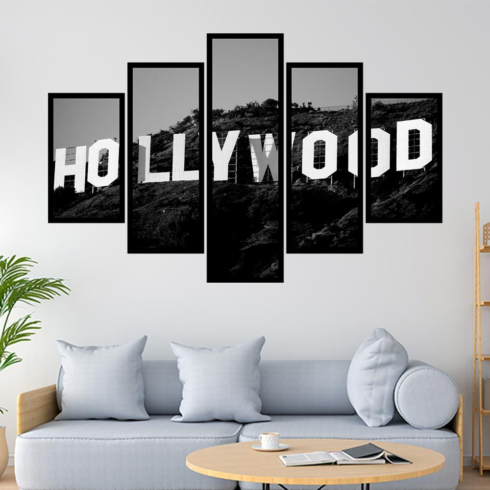 QUADRO MOSAÍCO 5 PARTES HOLLYWOOD