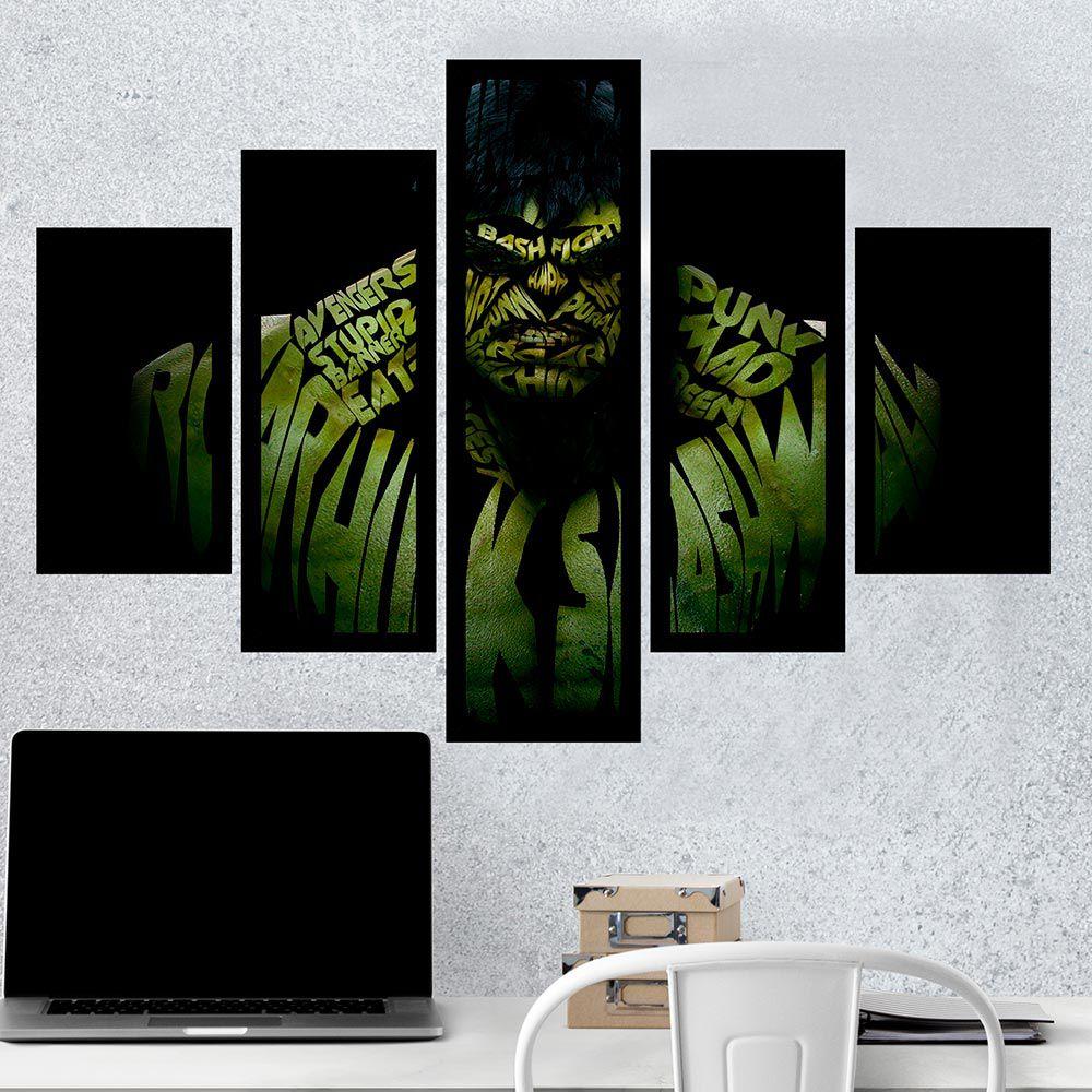 Quadro Mosaico 5 Partes Hulk Com Moldura
