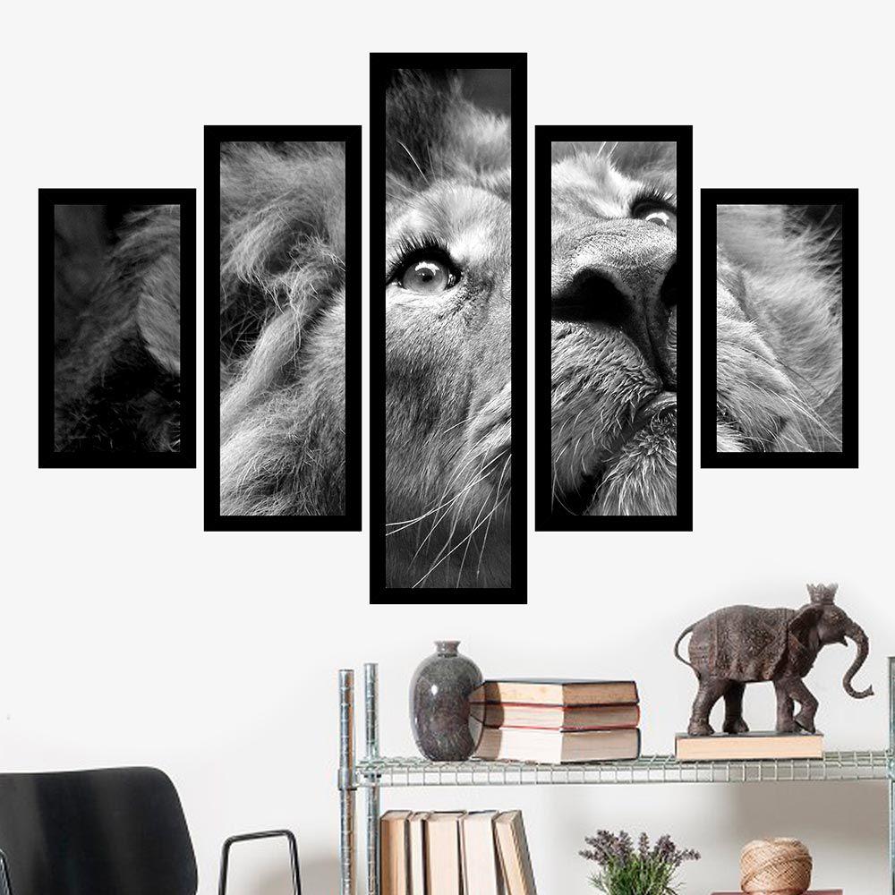 Quadro Mosaico 5 Partes Leão com Olhar de Caçador