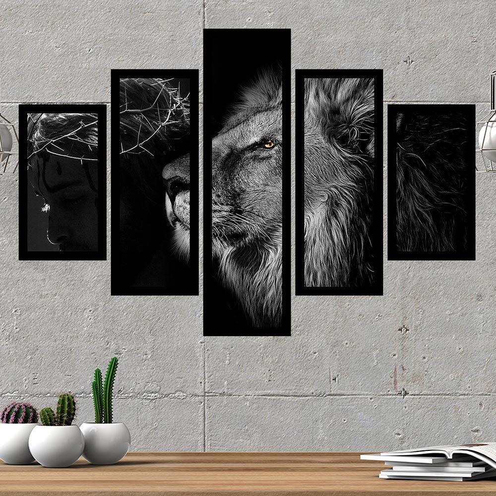 Quadro Mosaico 5 Partes Leão de Judá Preto e Branco