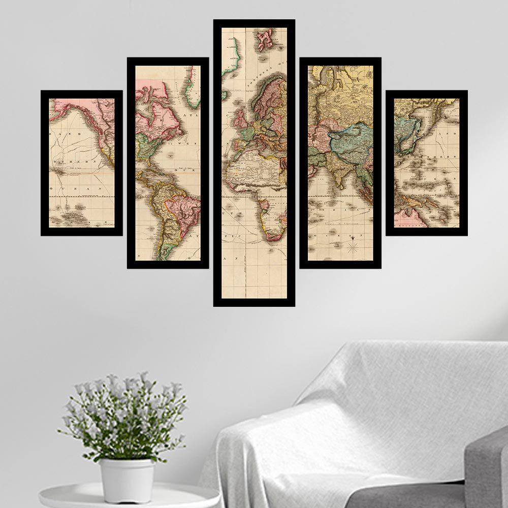 Quadro Mosaico 5 Partes Mapa Mundi Antigo Com Moldura