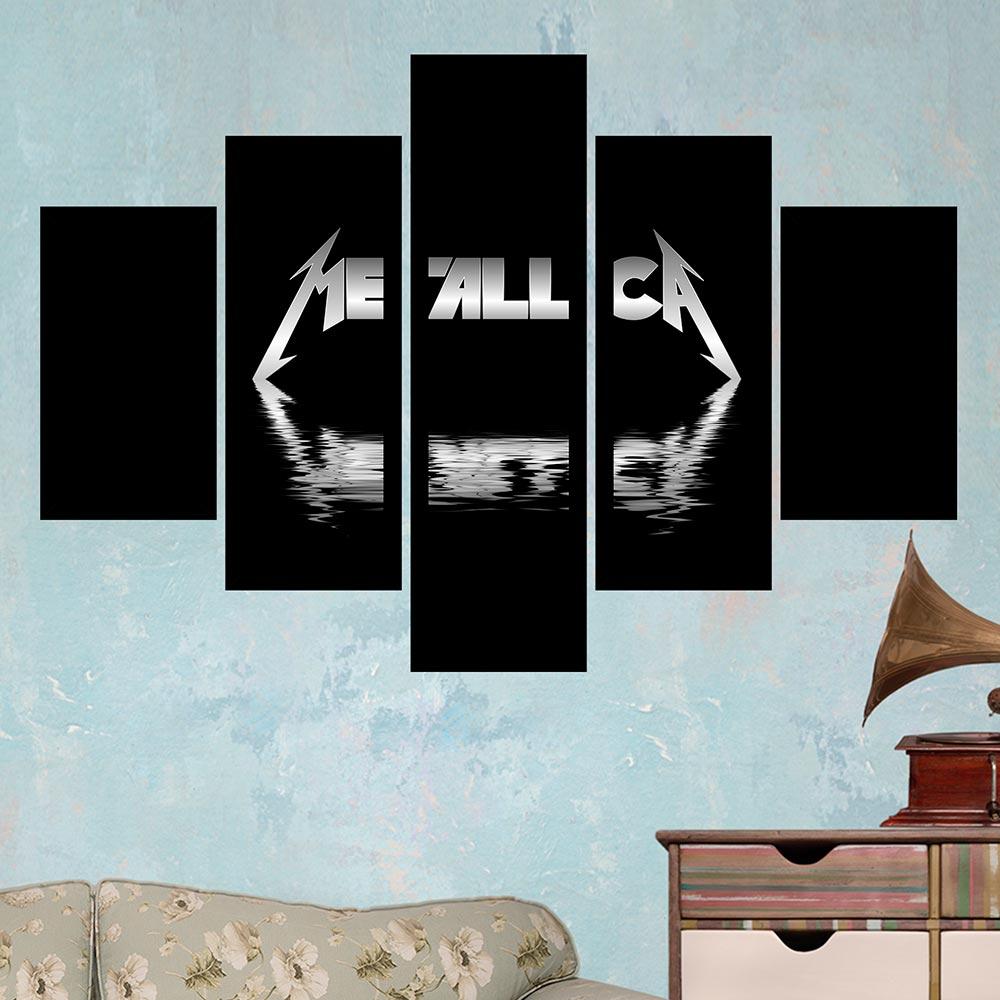 Quadro Mosaico 5 Partes Metallica Com Moldura