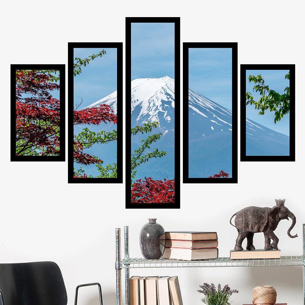 Quadro Mosaico 5 Partes Monte Fuji Com Moldura