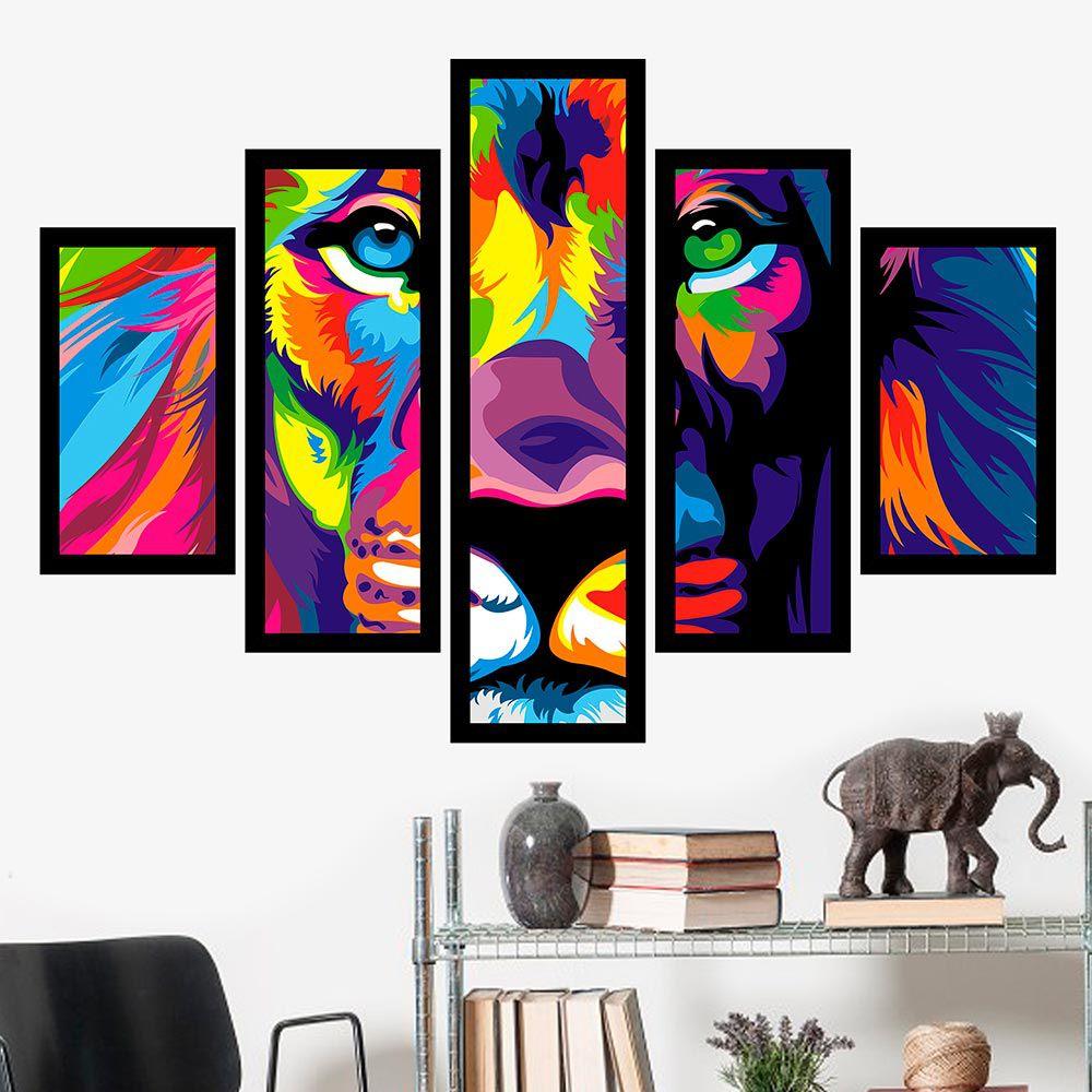 Quadro Mosaico 5 Partes O Leão Colorido Com Moldura