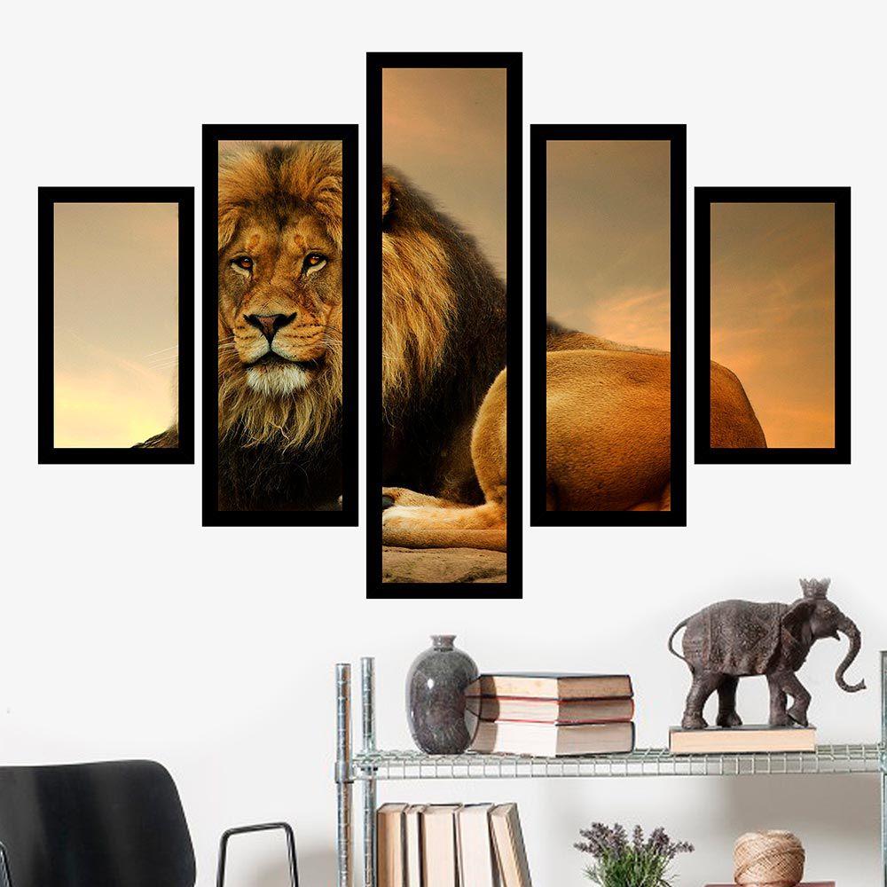 Quadro Mosaico 5 Partes O Rei da Selva
