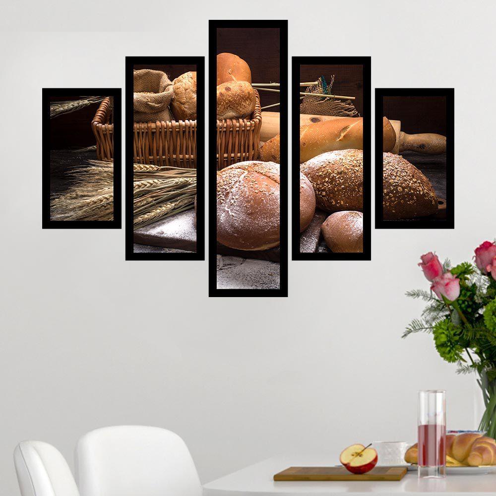 Quadro Mosaico 5 Partes Pães E Trigo Com Moldura