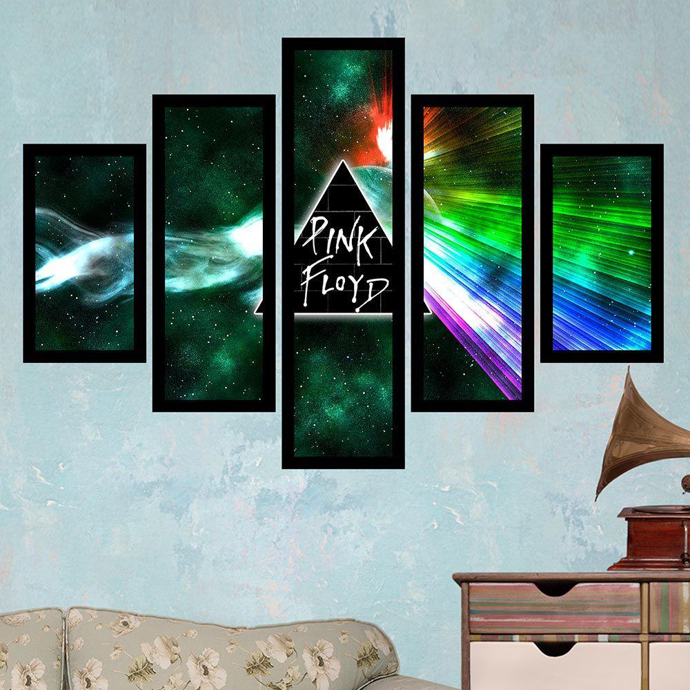 Quadro Mosaico 5 Partes Pink Floyd Boreal Com Moldura