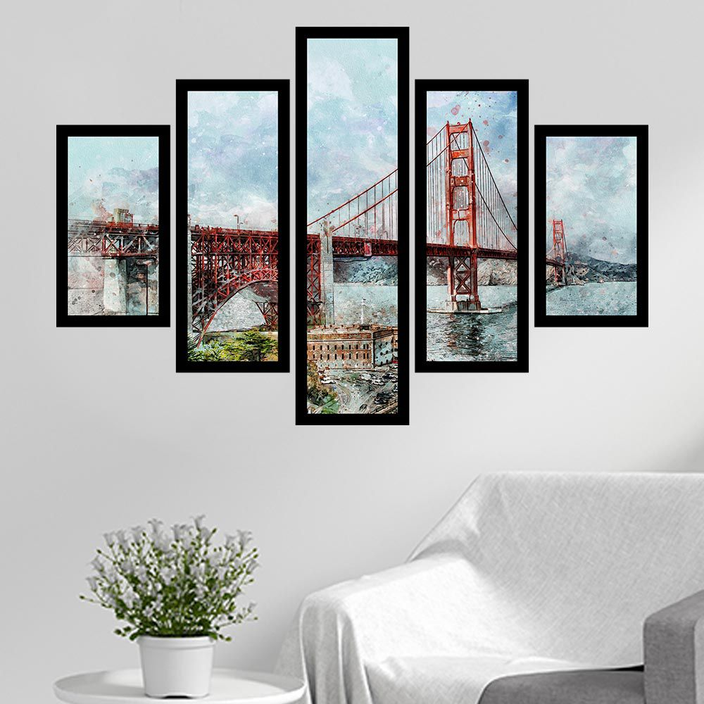 Quadro Mosaico 5 Partes Ponte Golden Gate Com Moldura