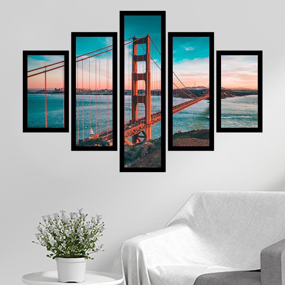 Quadro Mosaico 5 Partes Ponte Golden Gate Tarde Com Moldura