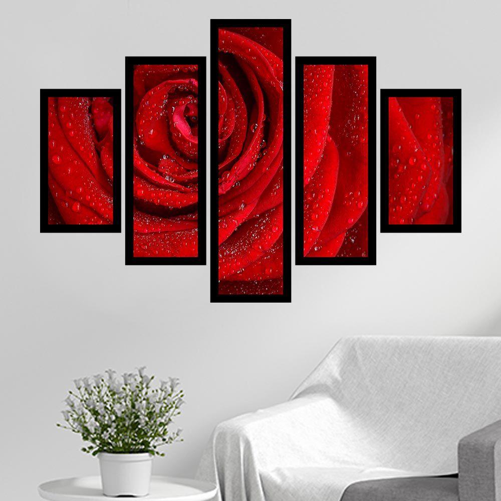 Quadro Mosaico 5 Partes Rosa Vermelha Com Moldura