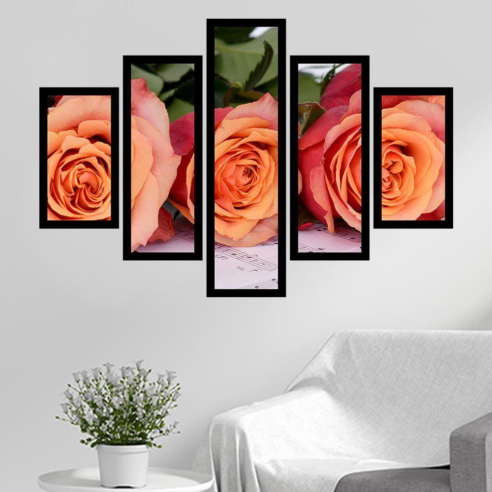 Quadro Mosaico 5 Partes Rosas Com Música Com Moldura