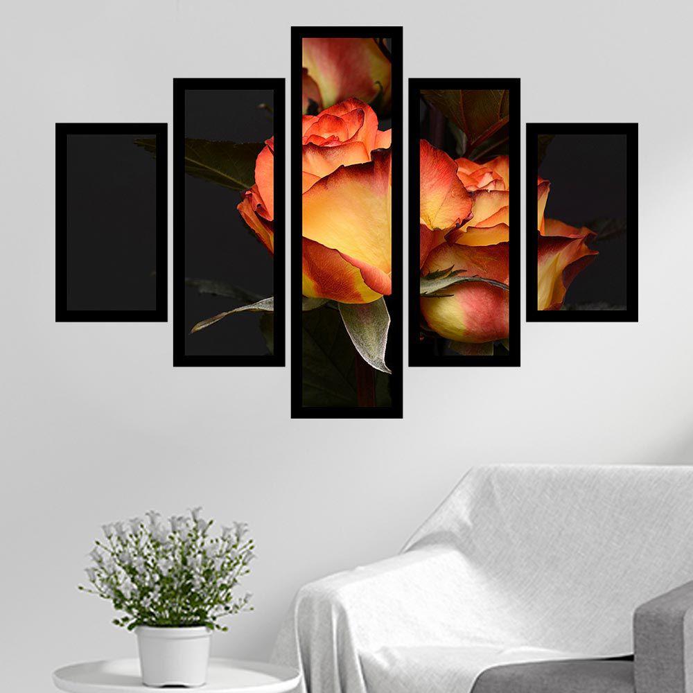 Quadro Mosaico 5 Partes Rosas Laranja Com Moldura