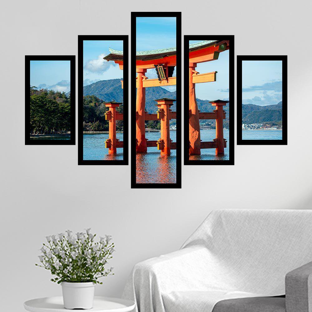 Quadro Mosaico 5 Partes Santuário De Itsukushima Com Moldura